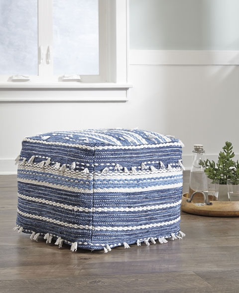 anthony nubby pouf in blue & white
